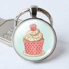 Cupcake dôme en verre rond Cabochon porte-clés dôme en verre pendentif porte-clés, cadeau de Couple damitié, noël