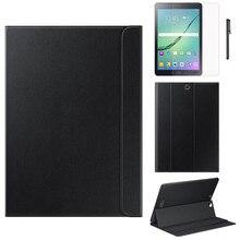 Funda de cuero con soporte Folio para Samsung Galaxy Tab S2 de 9,7 pulgadas T810 T815 protectora para Tabelt con regalos + película + pluma A20