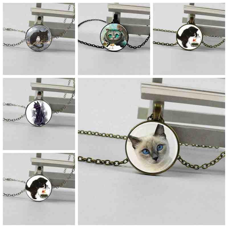 2018 nuevo colgante de cristal caliente redondo Luna Azul y collar de cristal de gato colgante de galaxia collar de vidrio redondo