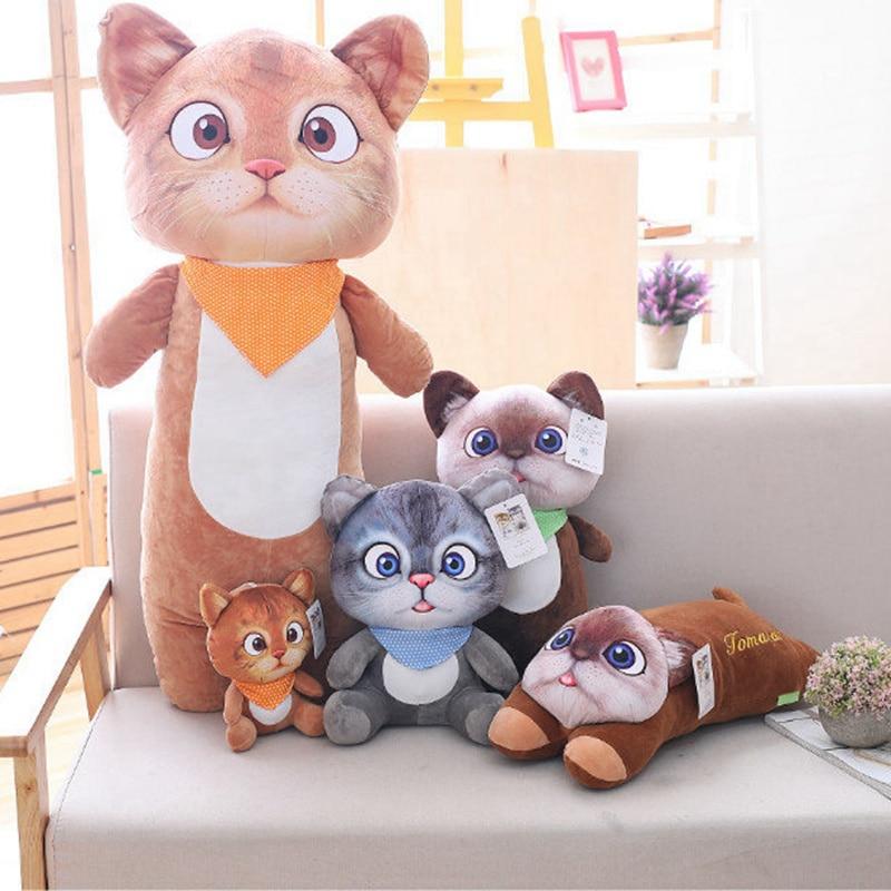 22cm lindo suave 3D simulación de gato de peluche de juguete de doble cara asiento sofá almohada cojín Kawaii de peluche Animal gato muñecas juguetes regalos