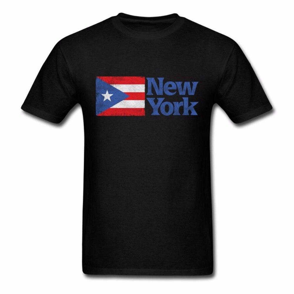 2019 de manga corta con cuello redondo camisetas de algodón para hombres 100% nueva York bandera de Puerto Rico impreso verano nueva Camiseta de algodón para hombres