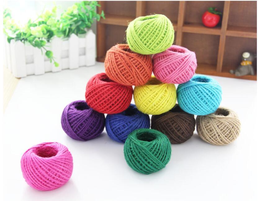 240 pc 2mm 25 M/rollo cuerda de Yute Natural artesanías cuerda hogar colorido foto pared complejo DIY decorativo cuerda tejida de lino fino