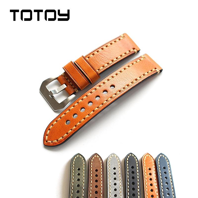 TOTOY Italienischen Leder Leder Watchbands18 19 20 MM 21 MM 22 MM 23 MM 24 MM 26 MM Hand Genäht leder Für PAM Herrenarmband