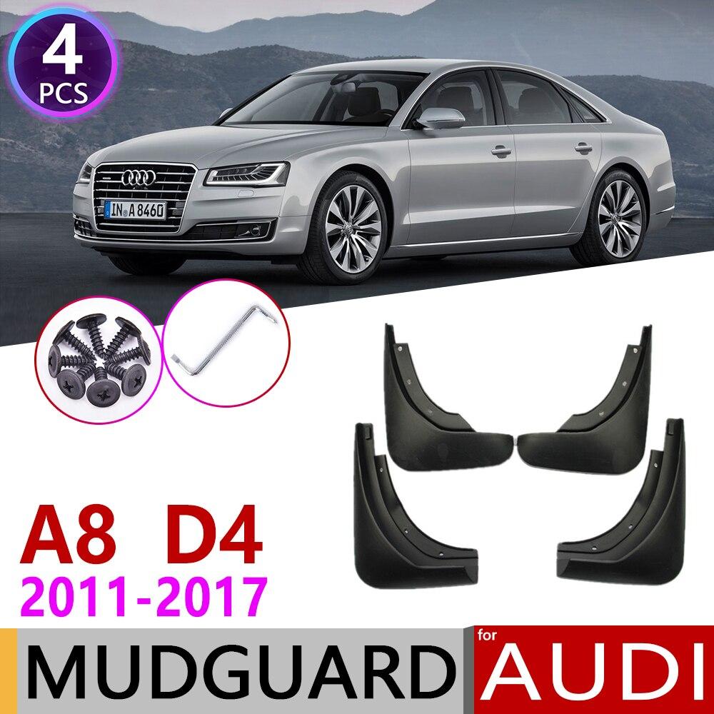 Voiture Bavette pour Audi A8 D4 2011 ~ 2017 Garde-Boue Garde-Boue Rabat Éclaboussures Bavettes Garde-Boue Accessoires 2012 2013 2014 2015 2016 3rd 3 Gen