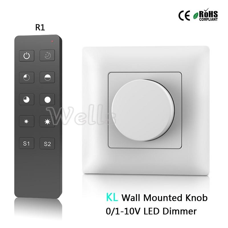 Envío Gratis KL perilla montada en la pared AC85-265V 0-10V led dimmer salida 1 canal 0-10V señal alta tensión AC entrada relé salida