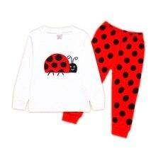 Marienkäfer Mädchen Kleidung Anzüge Stickerei Baumwolle Baby Mädchen Pyjamas Drucken Kinder Nachtwäsche Cartoon Schlafanzug T-Shirt + Hose 2PCS Set