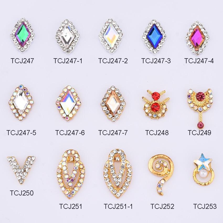 10 Uds nuevos diseños llegan rombo drop strass para decoración de uñas 3d gema de cristal decoración de joyas de diamantes de imitación para decoración unas TCJ247