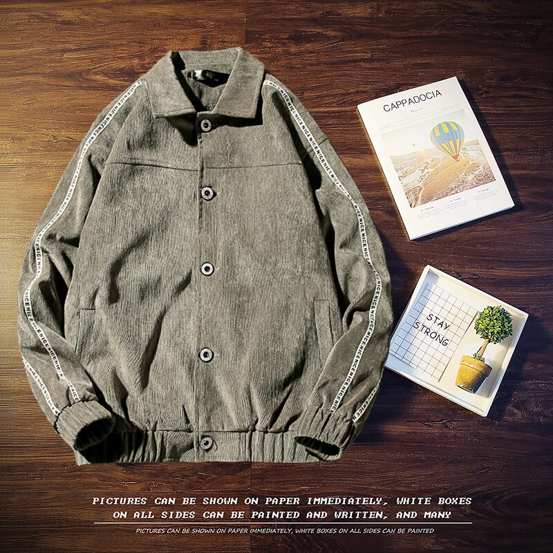 YuWaiJiaRen ropa estilo japonés ropa de calle retro urbano bombardero chaqueta de pana hombres primavera otoño Casual ropa de calle