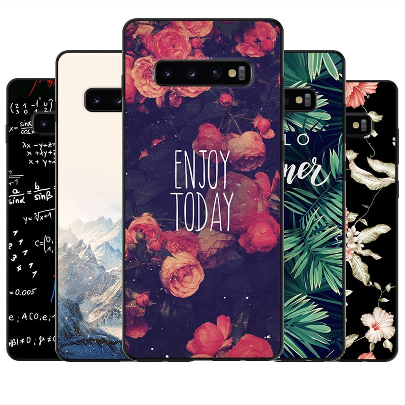 Para Samsung Galaxy S10 Plus S10e S10 + cubierta de TPU de silicona suave negra impresa para Samsung S10 Plus S10 lite de la cubierta del teléfono