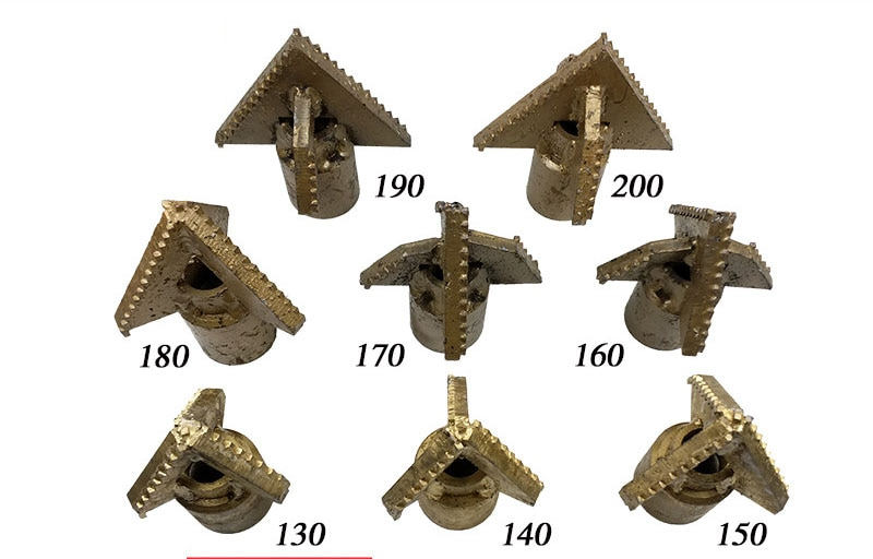 مثقاب سبيكة ثلاثي الأجنحة ، خيط أمهات ، لقم حفر للتربة ، 190 متصل بأنبوب حفر ملتوي بخيط الأم 76