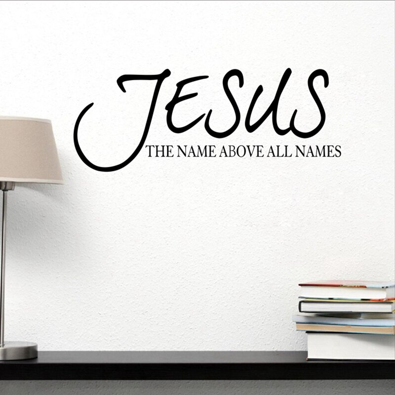 Jesus Name Über Alle Namen Zitat Wand Aufkleber Aufkleber Vinyl Bibel Vers Religiöse Beten Schriftzug Wand Aufkleber Home Decor Kunst wandbild