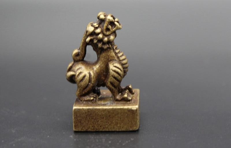 (Mini) delicado antiguo estilo latón antiguo chino bestia mítica sello de estatua auspiciosa
