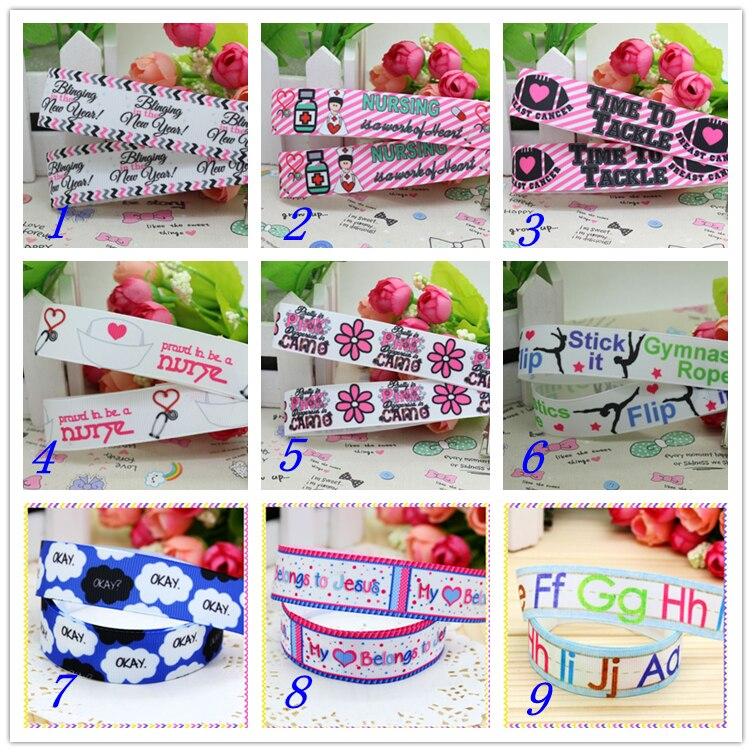 7/8 envío gratis carta enfermera cáncer cinta de grosgrain estampada hairbow sombreros fiesta decoración bricolaje al por mayor OEM 22mm D382