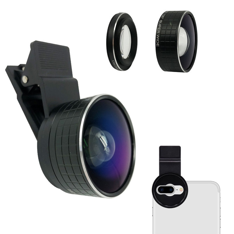 2 IN 1 Dual Camera Macro Lens 20X Macro Mobile Phone Camera Lenses & HD 128 Degree Super Wide Angle Lens For iPhone X 8 7 Plus