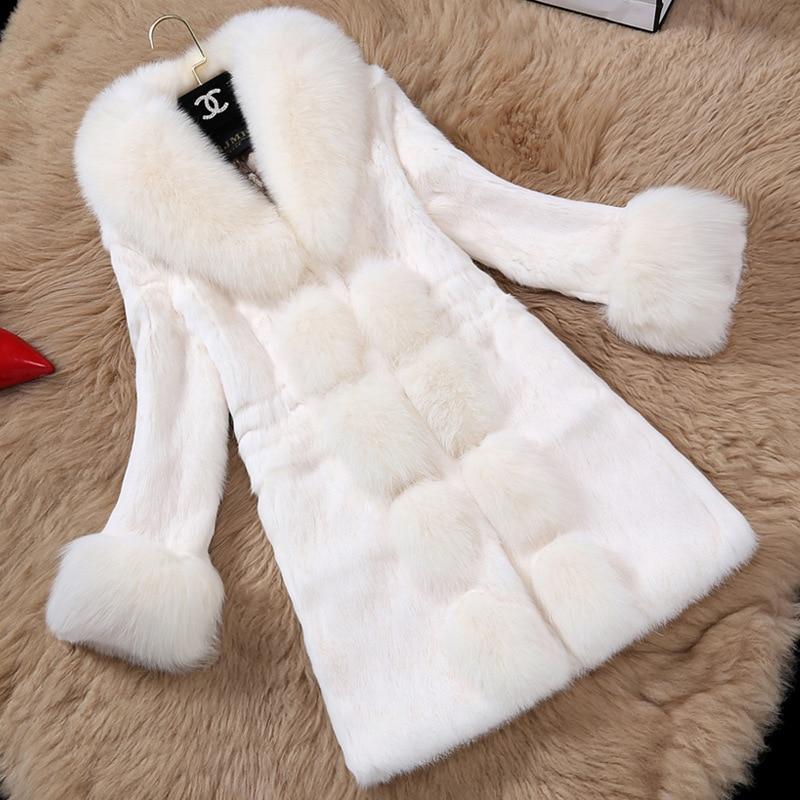 Women Jacket Faux Fur Red Rabbit Hair Fur Coat Plus Sizes White Long Coat Faux Fur Coats Winter Outwears Female Clothing