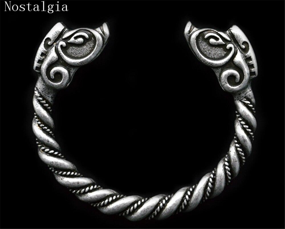 Pulsera de jabalí vikingo personalizada hecha a mano a la moda para hombre, brazalete de plata tibetana con apertura vikinga, brazalete de joyería