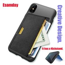 Esamday Slim PU étui pour iphone X étui de luxe couverture arrière porte-cartes porte-cartes de crédit poche pour téléphone portable