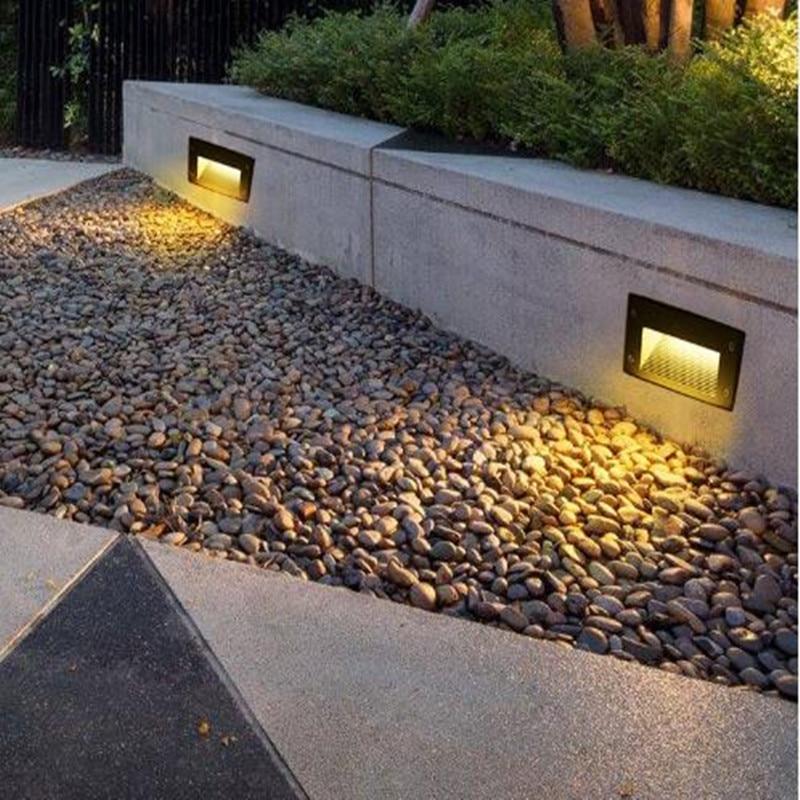 Lámpara de pared led 3W IP65, luz de escalera LED, luz de paso empotrada, lámpara enterrada, impermeable para interiores y exteriores, luz de paso s AC85-265V