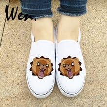 Wen garçons filles Anime javel Kon Design chaussures de sans lacet noir blanc 2 couleurs toile baskets plate-forme bas Espadrilles plat