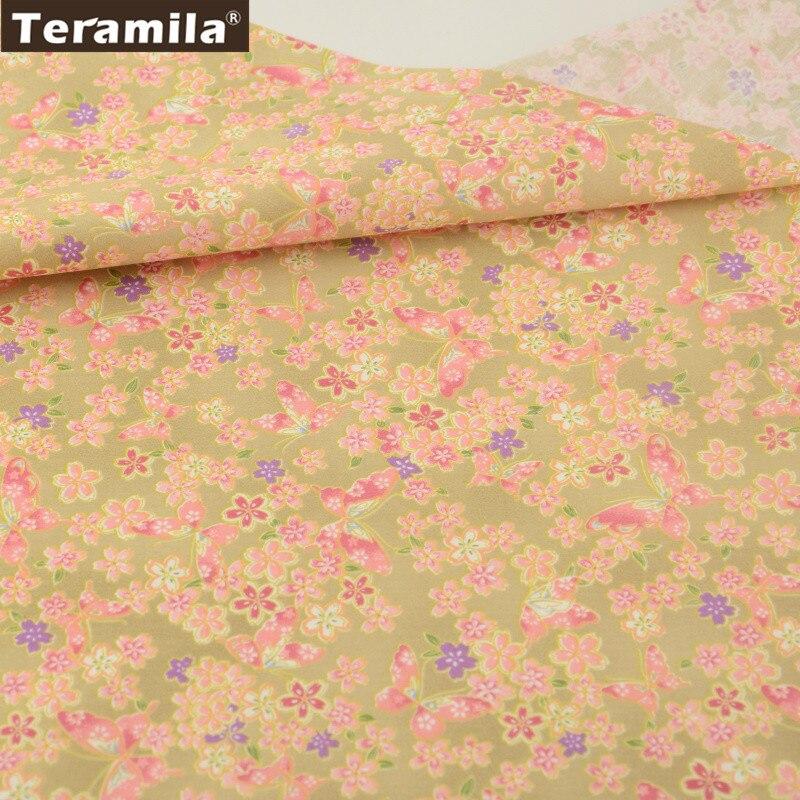 2016 diseño Floral y mariposas 100% tela de algodón naranja y dorada Material grueso cuarto sábana Patchwork CM textil para el hogar