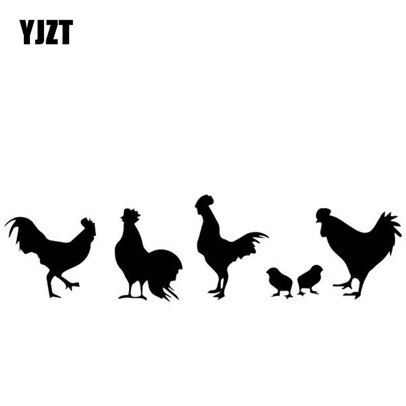 YJZT 17.2CM*4.7CM Chicken Group Pattern Decor Car Sticker Car Door Vinyl Decal Black/Silver C4-2166