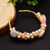 glseevo natural freshwater baroque pearl bracelet woman adjustable bracelet handmade wedding party boutique jewelry gb0060