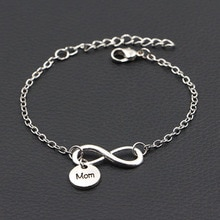 Personalized I Love My MOM Mother Infinity Bracelet Antique Silver Color DIY Handmade Bracelet Women Fashion Jewelry