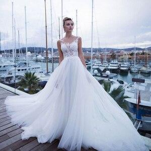 Charming Sheer Neck Bohemian Wedding Dresses Vestidos de Novia White/Ivory Tulle Appliqued Customized Lace Bridal Gown 2020