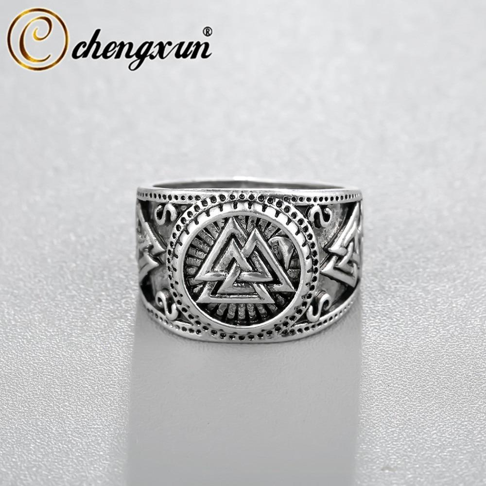 CHENGXUN vikingo redondo de gran ancho Signet anillo dedo hombres negro plata color moda Valknut joyería vintage al por mayor 15mm
