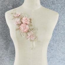 1pc tecido de renda bordado applique decote rosa 3d flor embelezamento rendas colar costura artesanato roupas acessórios yl1174