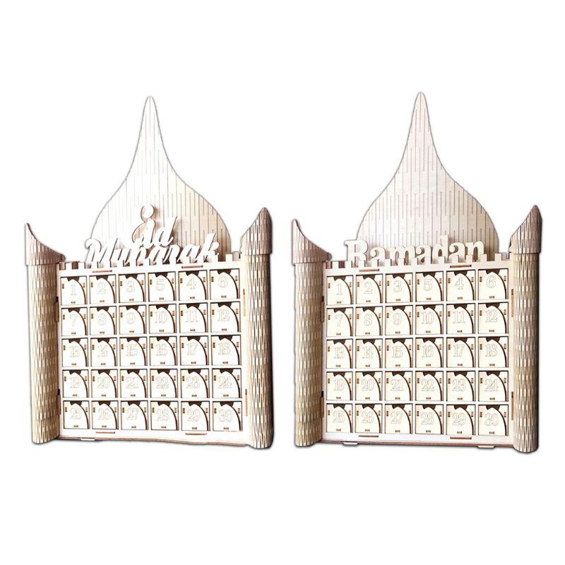 De MDF de madera musulmán Eid Mubarak Ramadán señal Calendario de Adviento cuenta regresiva casa cajón fiesta decoración DIY