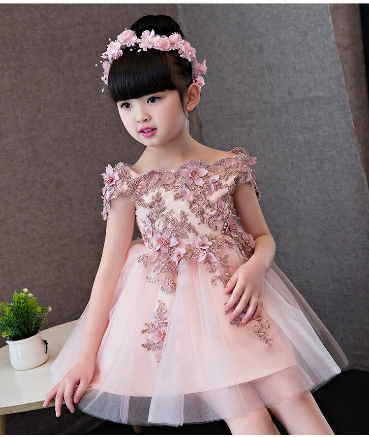 Alta calidad nueva flor chica fiesta vestido de princesa Pageant para niñas pequeñas Glitz hombros descubiertos Organza comunión vestidos