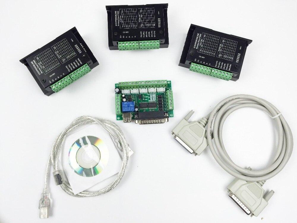 Frete grátis CNC Router 3 eixos kit, Tb6600 3 Axis 4.0A Kit controlador Driver de Motor de passo para mach3 + 5 eixos breakout board