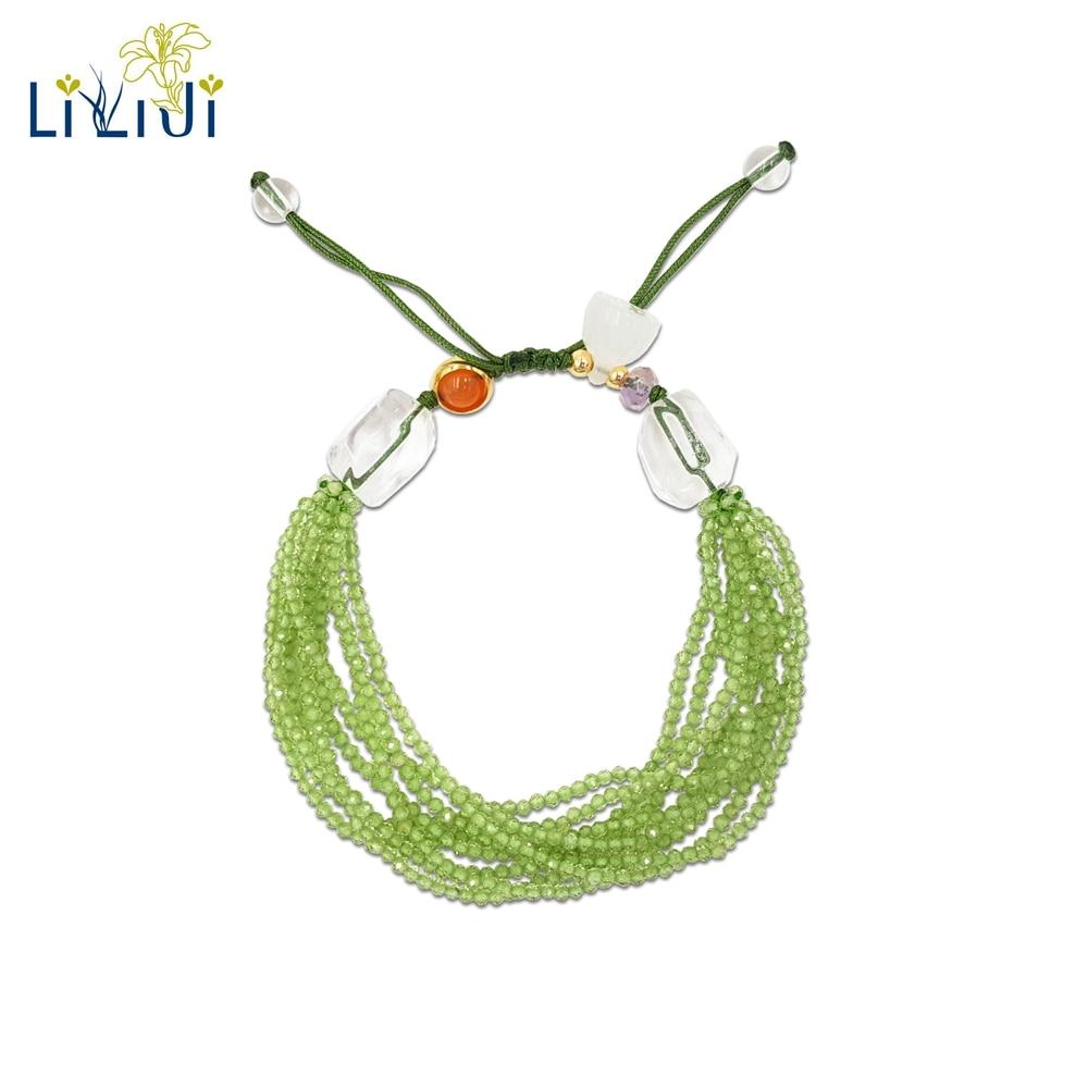Lii Ji Natural Gemstone Shining Peridot,Clear Quartz,Ametrine,Carnelian,Lotus Fashion Shining Bracelet