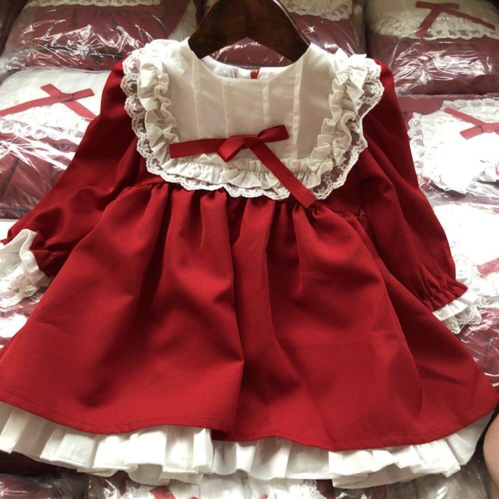 2020 Spring Autumn Baby Girls Red Dress Vestidos Vintage Long Sleeve Princess Dresses Party Birthday Elegant Kids Girls Dresses