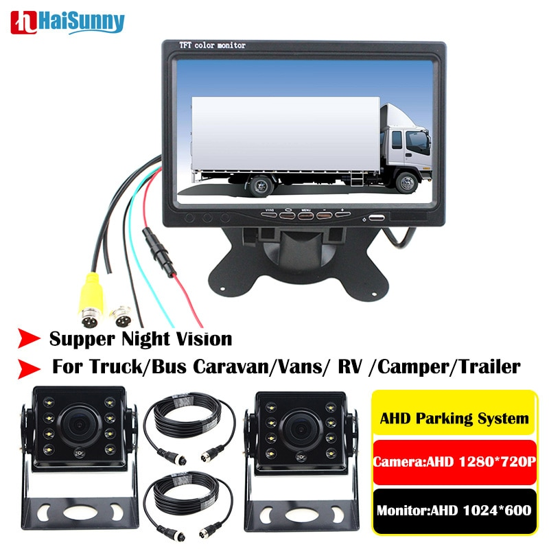 Aparcamiento Asistencia 7 pulgadas Monitor IPS con LED de visión trasera cámara de marcha atrás AHD 1280x720 P para autobús de camión Semi-remolque de RV