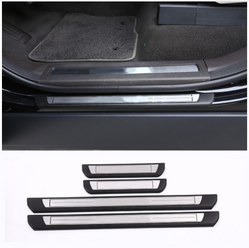 Placa protectora del umbral de la puerta exterior del coche para el descubrimiento del Land Rover 5 LR5 2017 estilo del accesorio del coche 4 unids/set