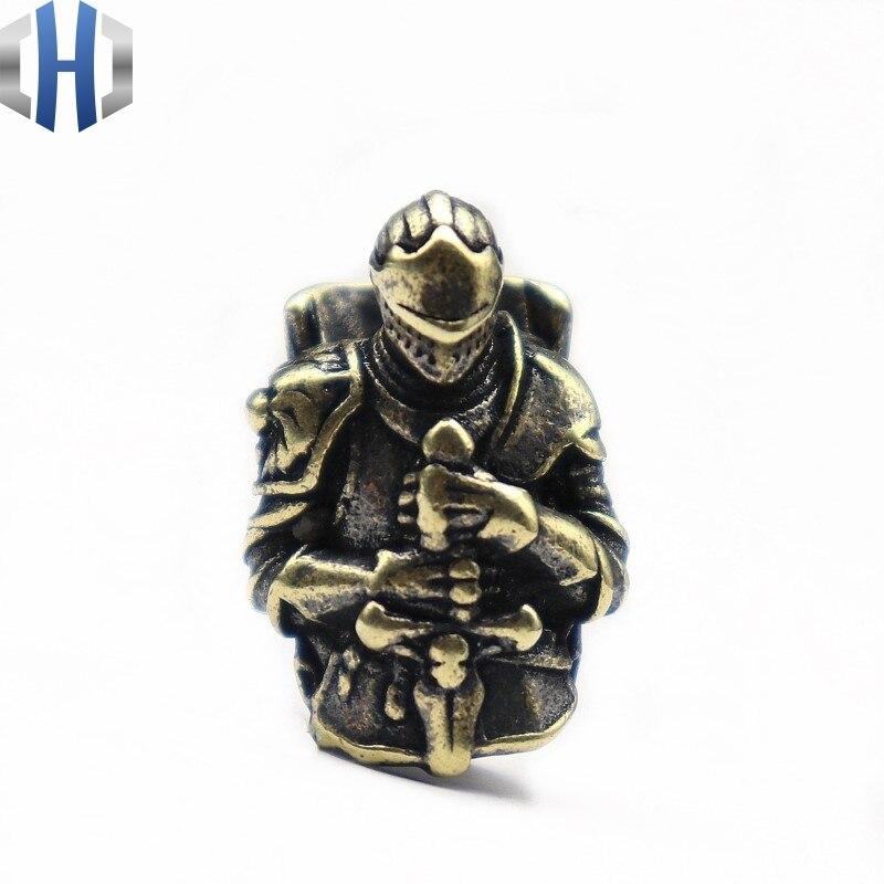 EDC Retro Paracord Beads vicisposides Caballero templario bronce cruzado armadura cuchilla de Guerrero paraguas cuerda llavero de hebilla cuchillo cuentas