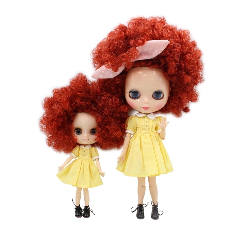 Fábrica de blyth muñeca middie muñeca 1/6 bjd 1/8 bjd hermana familia salvaje-pelo rizado marrón Rosa chica juguete de regalo