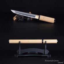 Hecho a mano japonés Tanto 1045 carbono acero daga espada corta Samurai Shirasaya madera Natural Scabbard afilar