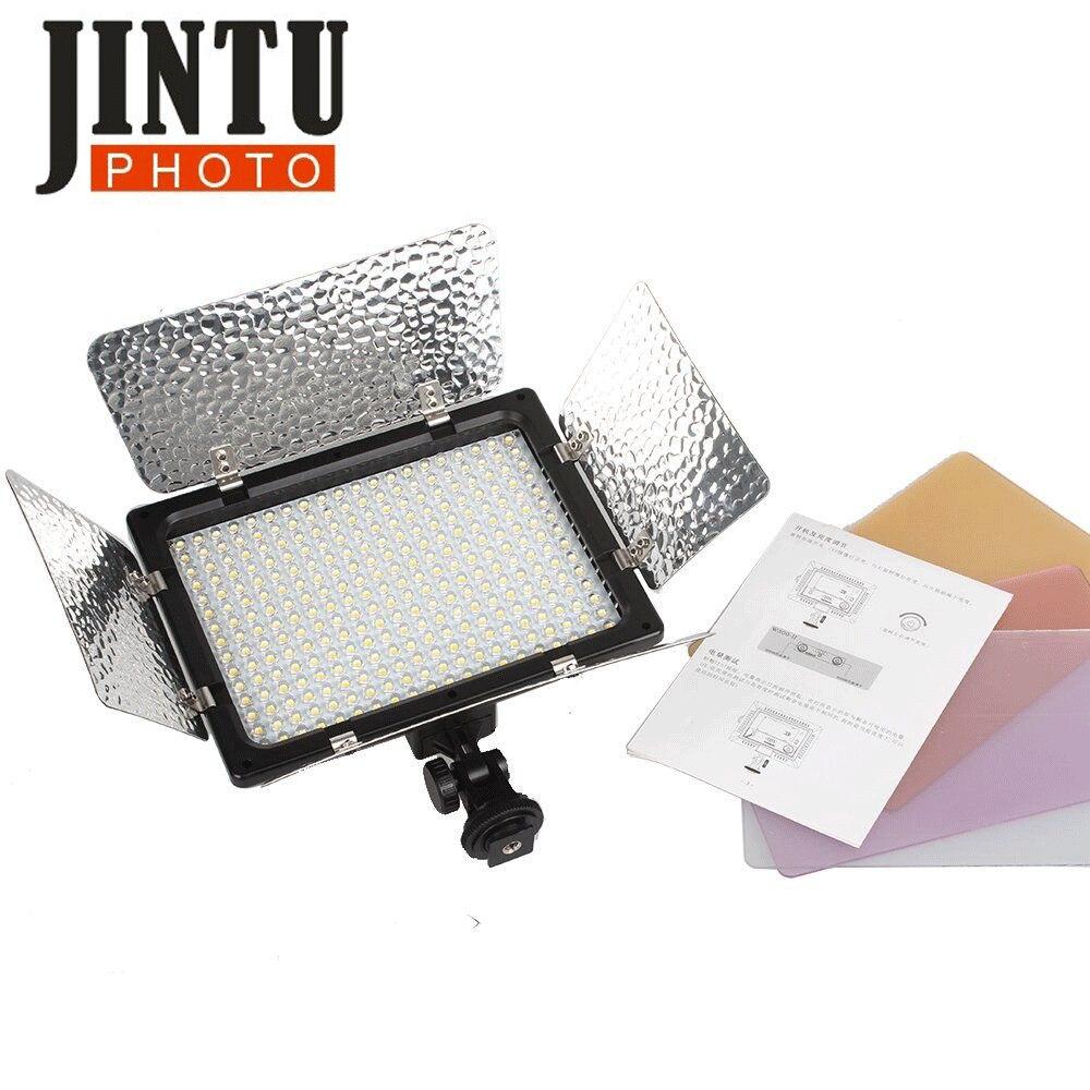 JinTu 18W W300 300 Uds LED foto Cámara lámpara Panel de luz LED 5600K w/filtro para Canon Nikon Sony DSLR cámara DV videocámara