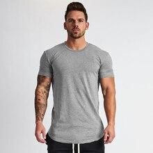 Muscleguys-Camiseta lisa de fitness para hombre, camisa de cuello redondo de algodón para culturismo, camisetas ajustadas para gimnasio, novedad