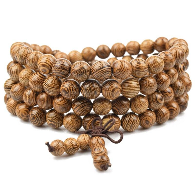 Pulsera de cuentas de oración 108, colgante de Buda tibetano, collar de Mala meditación, Rosario de Yoga, pulsera de madera de la suerte para mujeres y hombres, joyería