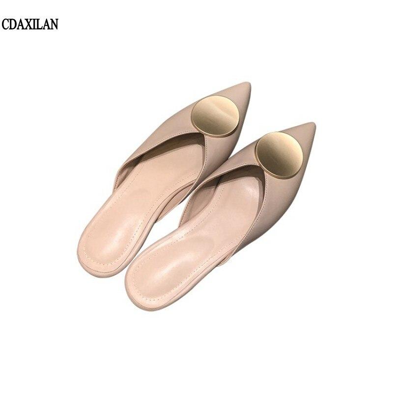 CDAXLAN nuevas llegadas genuino zapatillas mujer Zapatillas de interior zapatos casuales zapatos de mujer verano cómodo sandalias zapatillas beige, albaricoque