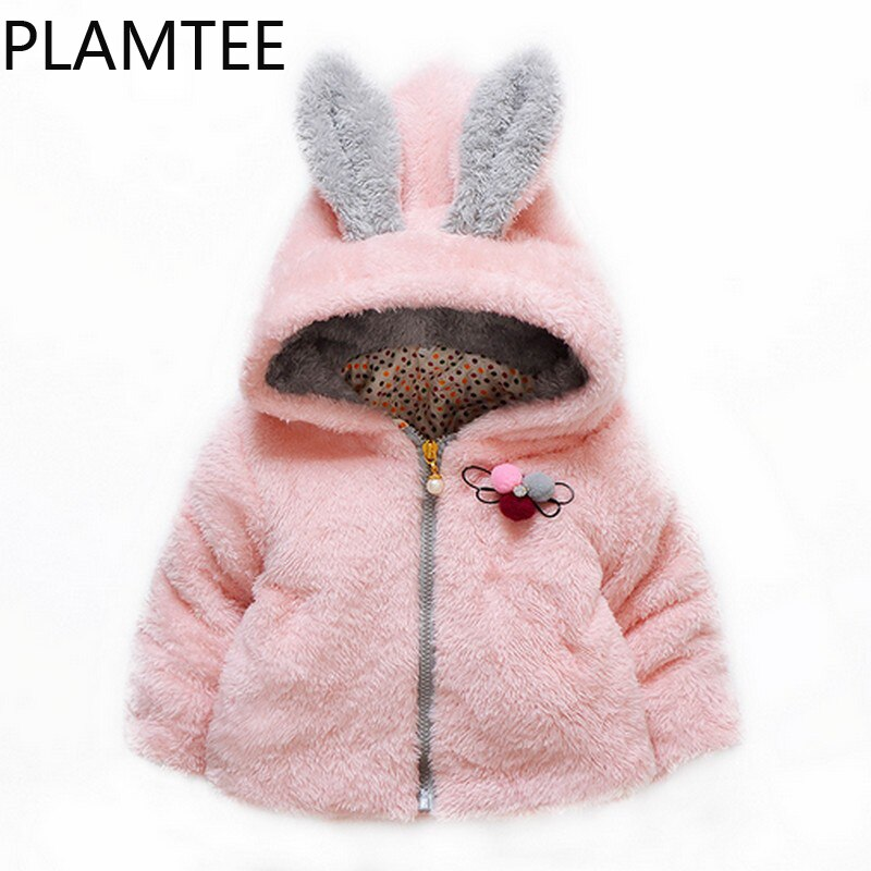 Abrigos de lana de invierno para niños de estilo Lolita PLAMTEE 2017, abrigo de manga larga para niñas, ropa de invierno gruesa y cálida para niños de color rosa de 2 a 6 años