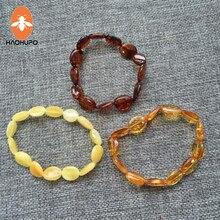HAOHUPO Handmade 100% Natural Oval Shape Amber Jewelry Olive Style Baltic Polished Amber Bracelet for Women Elastic Jewelry Bead