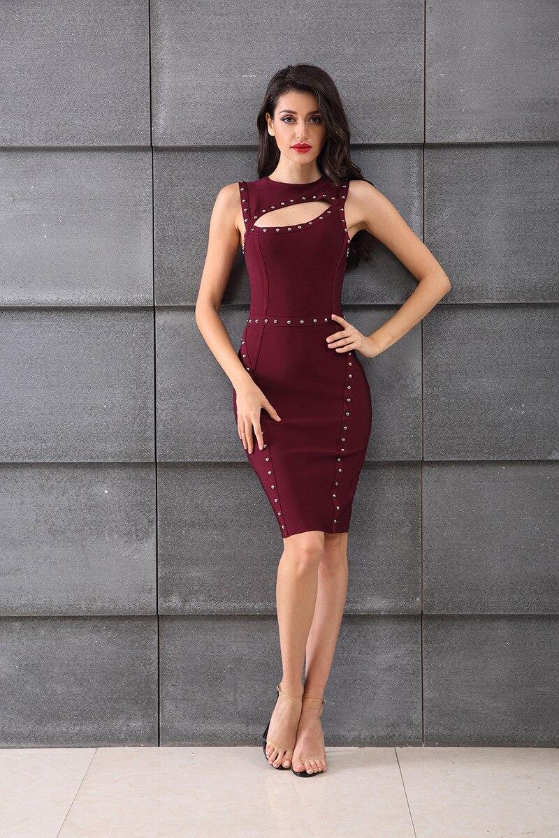 Verano 2019 vestido Sexy elegante celebridad sin tirantes vendaje mujeres cuello redondo noche Club sin mangas fiesta cuerpo con vestidos al por mayor