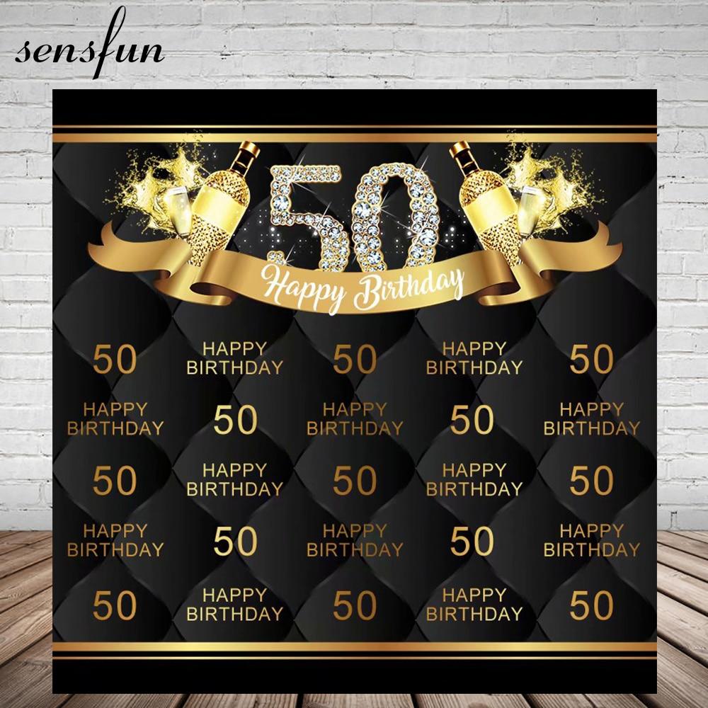 Sensfun diamante brillante feliz 50 cumpleaños fiesta telón de fondo buen texto negro fotografía fondos para estudio fotográfico vinilo