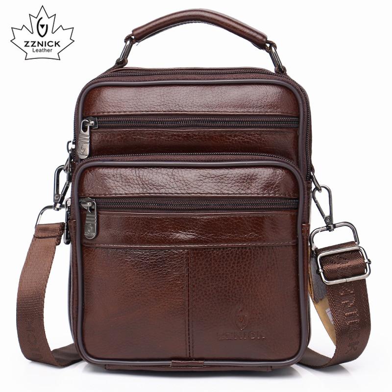 men genuine leather shoulder bag  handbag Zipper Men Bags 2019 Fashion 100% Genuine Leather ZZNICK