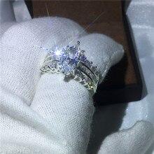 Bague de mariage en pierre zircon 5ct, coupe en Marquise, bague de fiançailles, bijoux en or blanc et blanc 5ct AAAAA